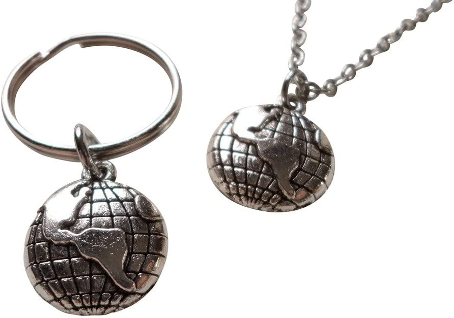 World Globe Necklace and Keychain Set - You Mean The World To Me; Couples Keychain Set