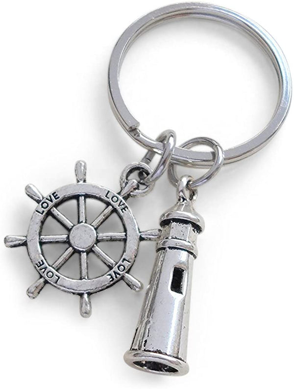 "Lighthouse Keychain With Ships Helm - ""Your Light Helps Guide Me Home"""