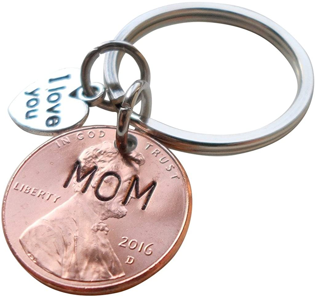 Mom Stamped on 2016 Penny Keychain, with I Love You Heart Charm, Mother's Day Gift