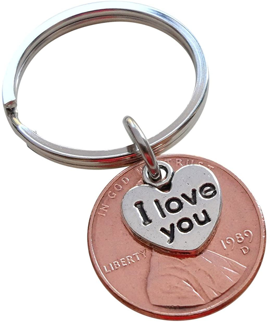 I Love You Heart Charm Layered Over 1989 Penny Keychain; 31 Year Anniversary Gift, Couples Keychain