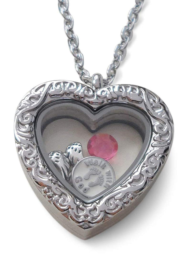 "Personalized ""Forever in My Heart"" Stainless Steel Large Heart Locket Necklace for Baby Loss Memorial - by Jewelry Everyday"