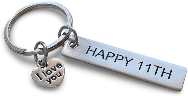 Stainless Steel Tag Keychain Engraved with Happy 11th, with I Love You Charm