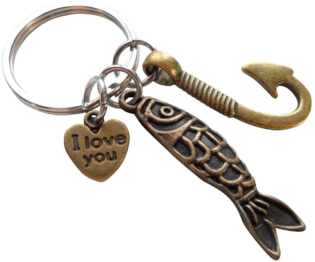 Bronze Fish Charm and Hook Charm Keychain - My Dad Can Catch Anything; Father's Keychain