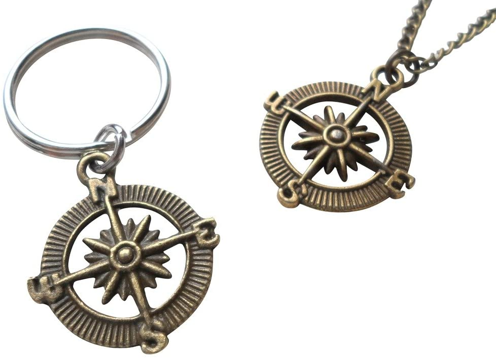 Bronze Open Metal Compass Necklace and Keychain Set - I'd Be Lost Without You; Couples Keychain Set