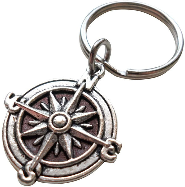 Compass Keychain or Handbag Charm - I'd Be Lost Without You; Couples Keychain