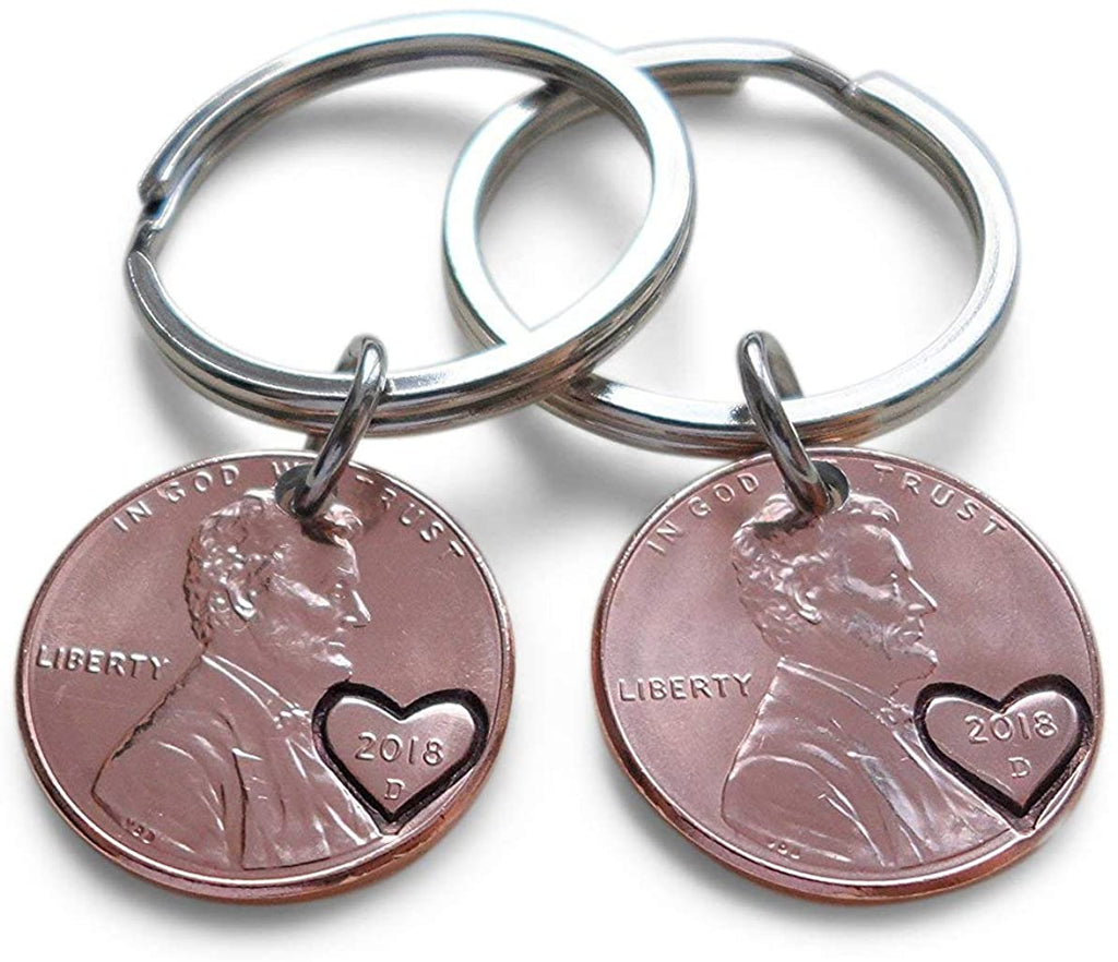 Double Keychain Set 2018 US One Cent Penny Keychains with Heart Around Year; Anniversary Gift, Couples Keychain