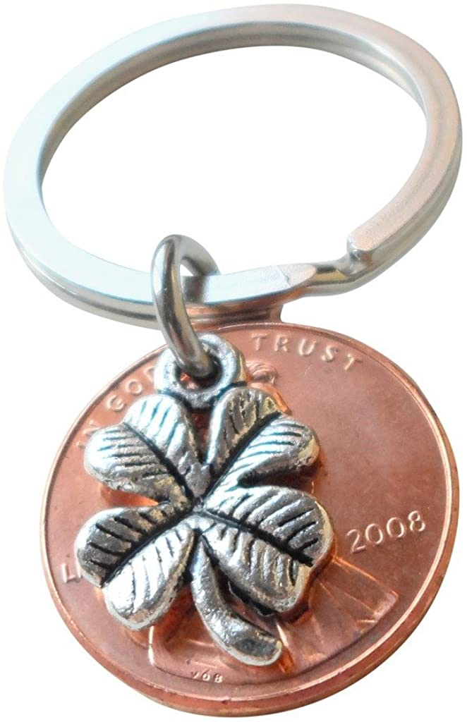 Clover Charm Layered over 2008 Penny Keychain, 12 Year Anniversary Gift, Birthday Gift, Couples Keychain