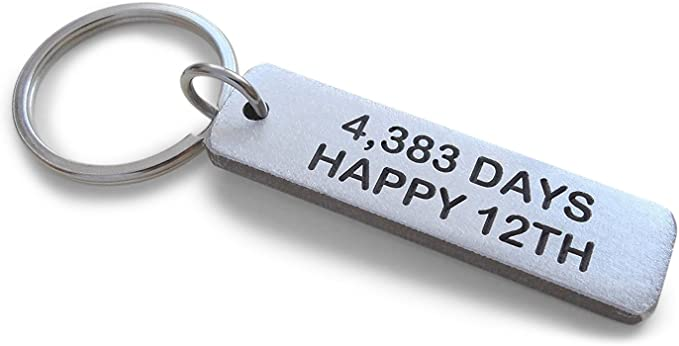"Aluminum Tag Keychain Engraved with ""4,383 Days, Happy 12th""; Handmade 12 Year Anniversary Keychain"