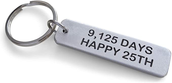 "Aluminum Tag Keychain Engraved with ""9,125 Days, Happy 25th""; 25 Year Anniversary Keychain"