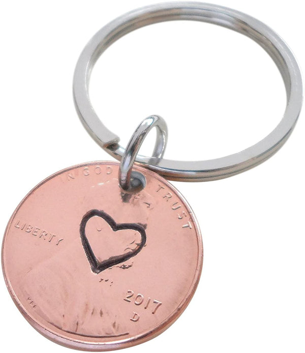 Centered Heart Stamped on 2017 Penny Keychain; 3 Year Anniversary Gift, Couples Keychain
