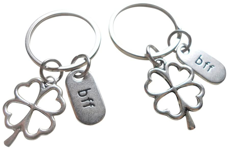 Double BFF Clover Keychains - Lucky to Have You; Best Friend Keychains