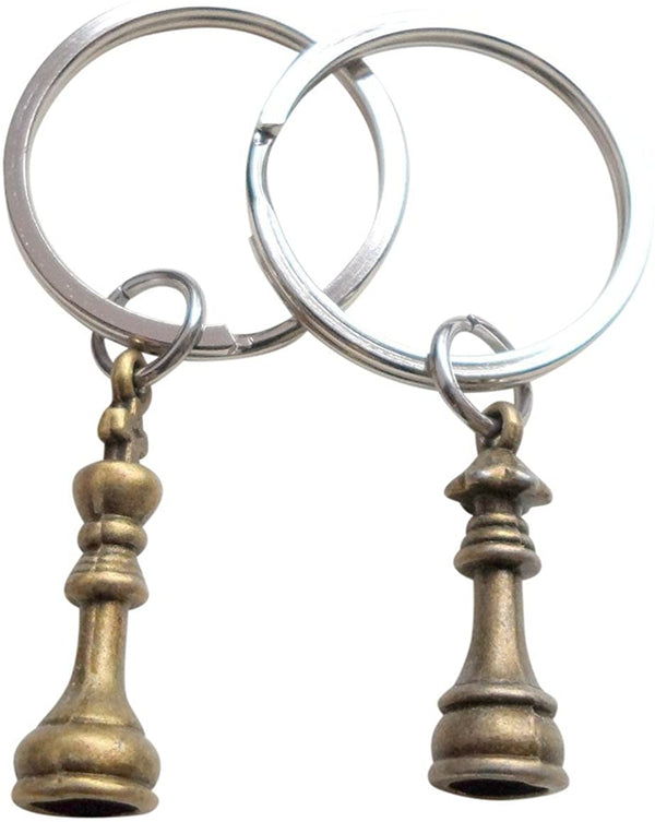 Bronze Chess Piece Charm Keychains, King and Queen Set - Couples Keychain Set