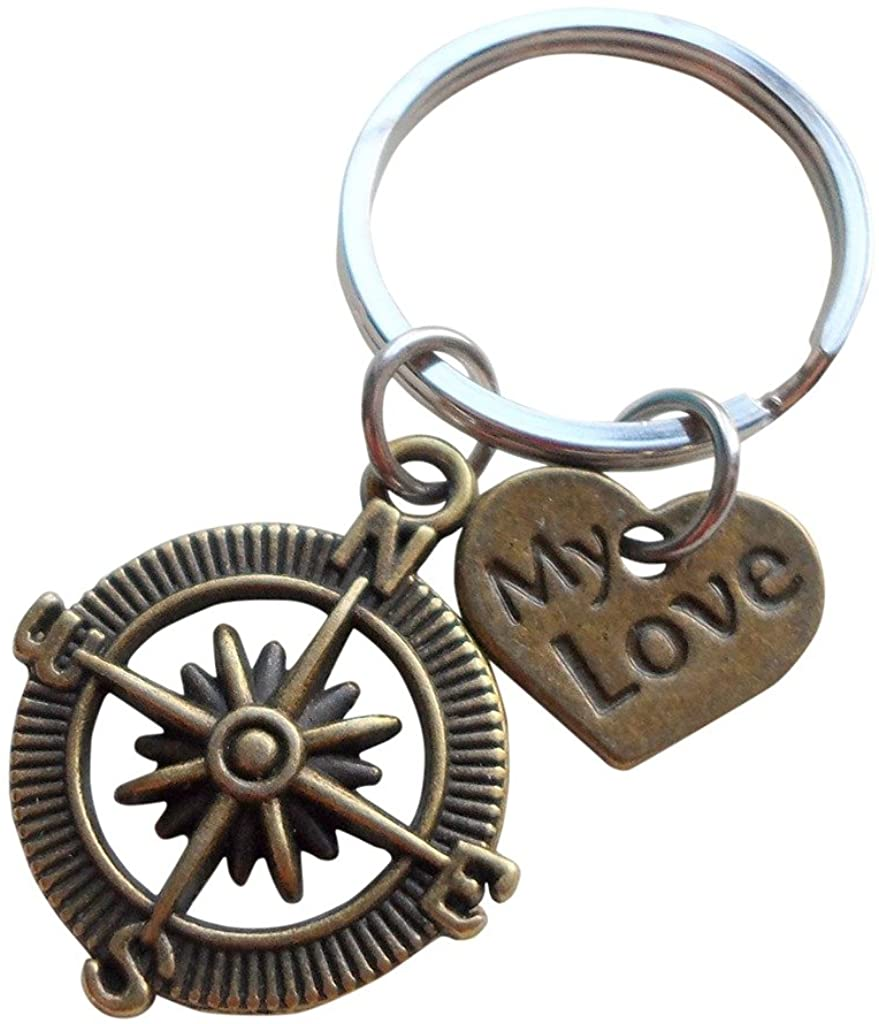 """My Love"" Bronze Compass Keychain - I'd Be Lost Without You; Couples Keychain"
