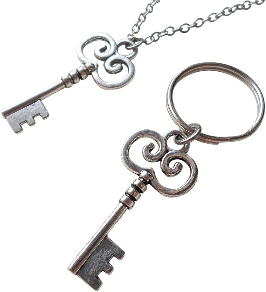 Key Charm Necklace and Keychain Set - You've Got The Key To My Heart