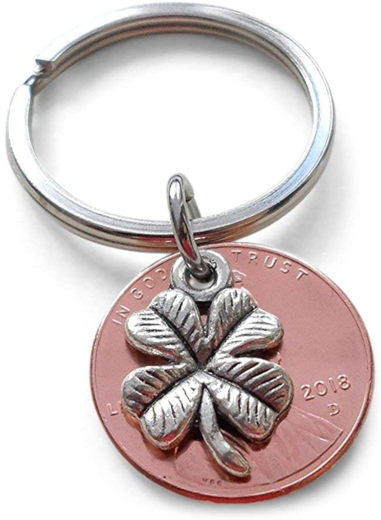 Clover Charm Layered Over 2018 US One Cent Penny Keychain; Anniversary Gift, Couples Keychain
