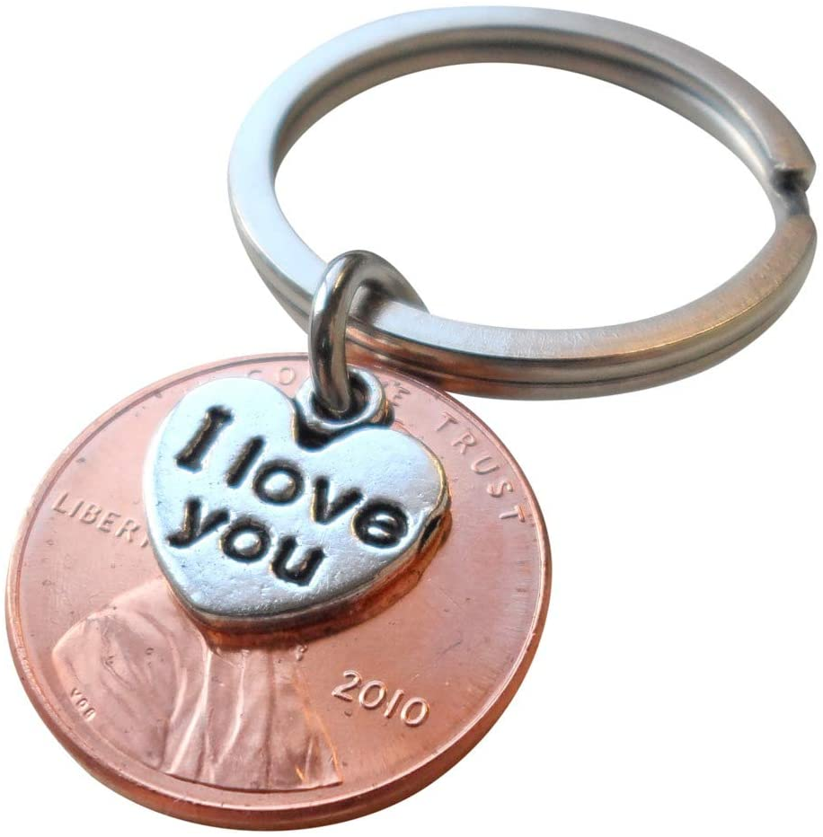 "11 Year Anniversary Gift • 2010 Penny Keychain w/ ""I Love You"" Heart Charm by Jewelry Everyday"