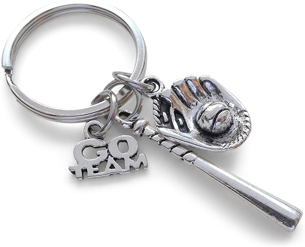 Go Team Baseball Keychain with Baseball Bat and Glove Charm - Glad to Have You on Our Team Keychain
