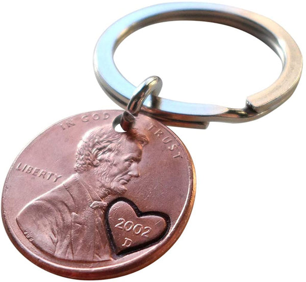 2002 Penny Keychain with Engraved Heart Around Year; 19 Year Anniversary Gift, Couples Keychain