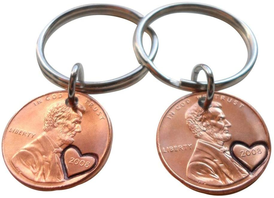 Double Keychain Set 2008 Penny Keychains with Engraved Heart Around Year; 12 Year Anniversary Gift, Couples Keychain