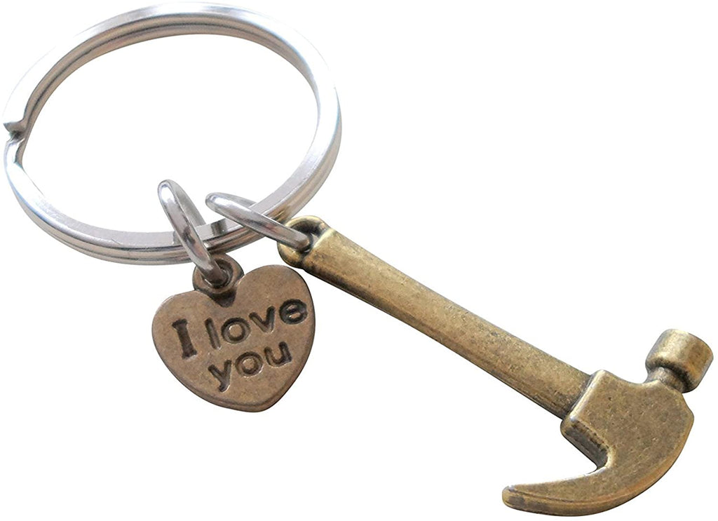 Bronze Hammer Keychain - My Dad Can Fix Anything; Fathers Gift Keychain