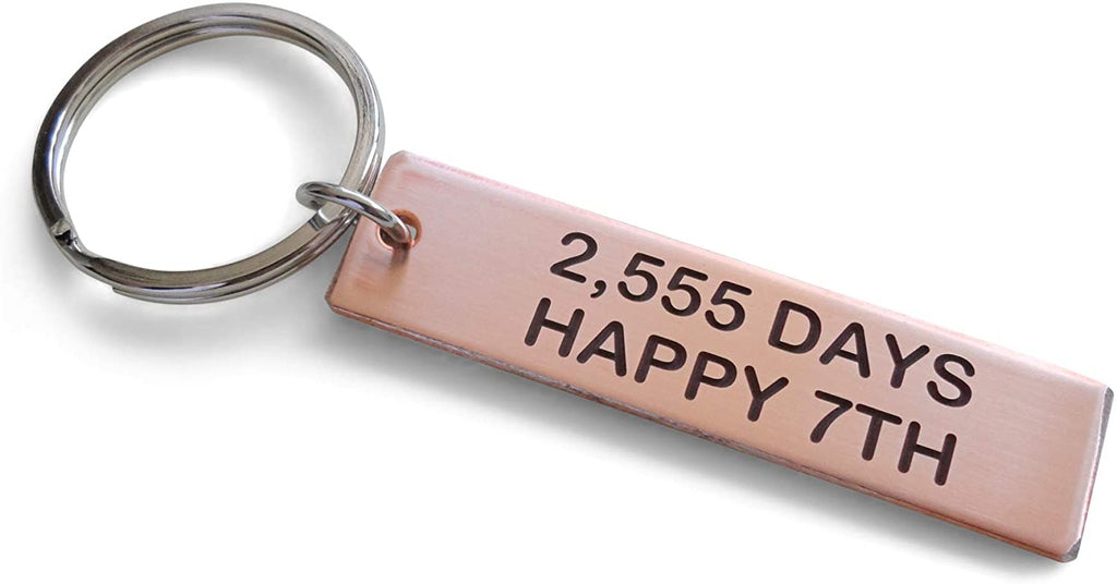 "Copper Tag Keychain Engraved with ""2,555 Days, Happy 7th""; Handmade 7 Year Anniversary Couples Keychain"