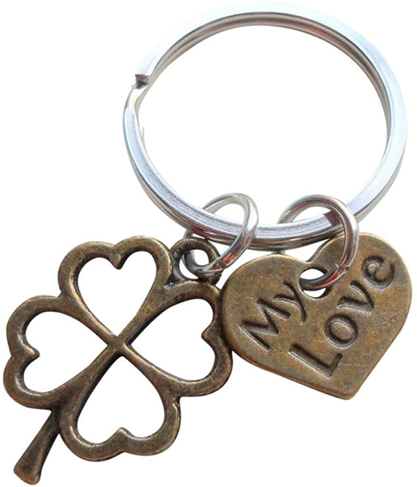 """My Love"" Bronze Clover Keychain - Lucky to Have Found You; Couples Keychain"