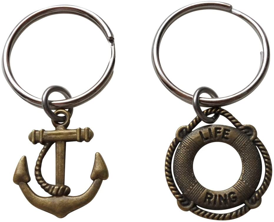 Bronze Anchor & Lifesaver Ring Keychain Set - You Be My Anchor And I'll Keep You Afloat; 8 Year Aniversary Gift, Couples Keychain Set