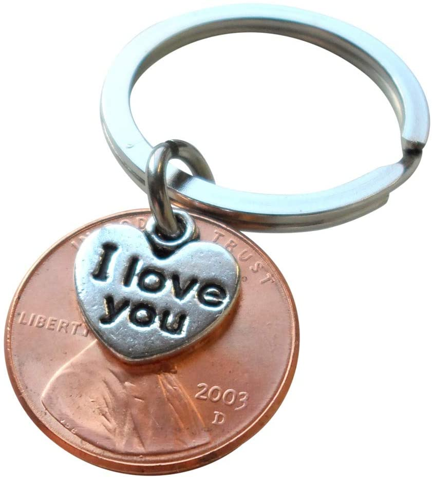 "2003 Penny Keychain • 18-year Anniversary Gift w/ ""I Love You"" Heart Charm from JE"