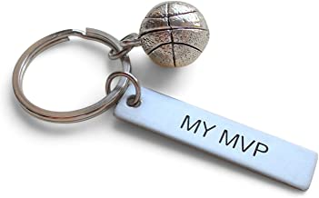 "Basketball Keychian and Steel Tag Engraved with ""My MVP"", Basketball Fan Keychain Gift"
