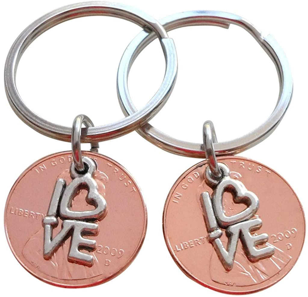 Double Keychain Set 2009 Penny Keychains with Love Charm; 11 Year Anniversary Gift, Couples Keychain