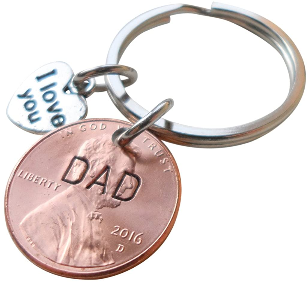Dad Stamped on 2016 Penny Keychain, with I Love You Heart Charm, Father's Day Gift