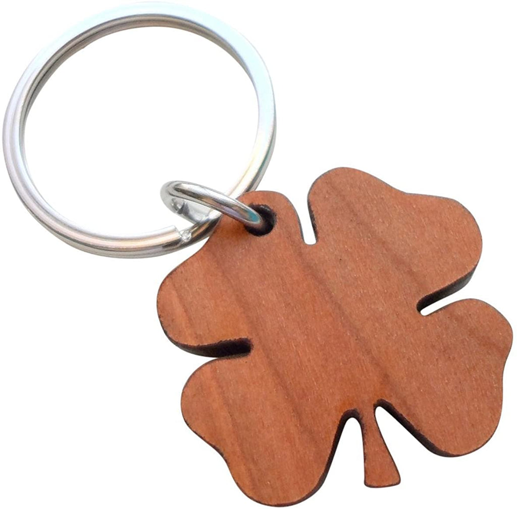 5 Year Anniversary Gift • Wood Clover Keychain - Lucky to Have You by Jewelry Everyday by Jewelry Everyday