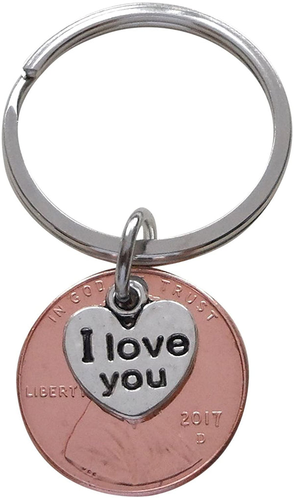 I Love You Heart Charm Layered Over 2017 Penny Keychain, Graduation Gift, Birthday Gift, Couples Keychain