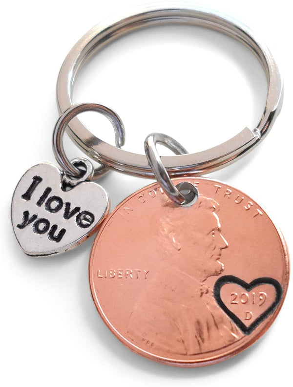 Personalized Penny Keychain Stamped with Heart Around the Year and Option to Add Initials, Includes I Love You Heart Charm