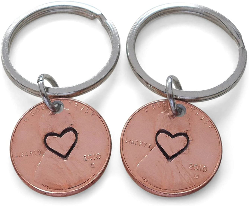 Double 2010 Penny Keychains, Centered Heart Stamped; 10 Year Anniversary Gift