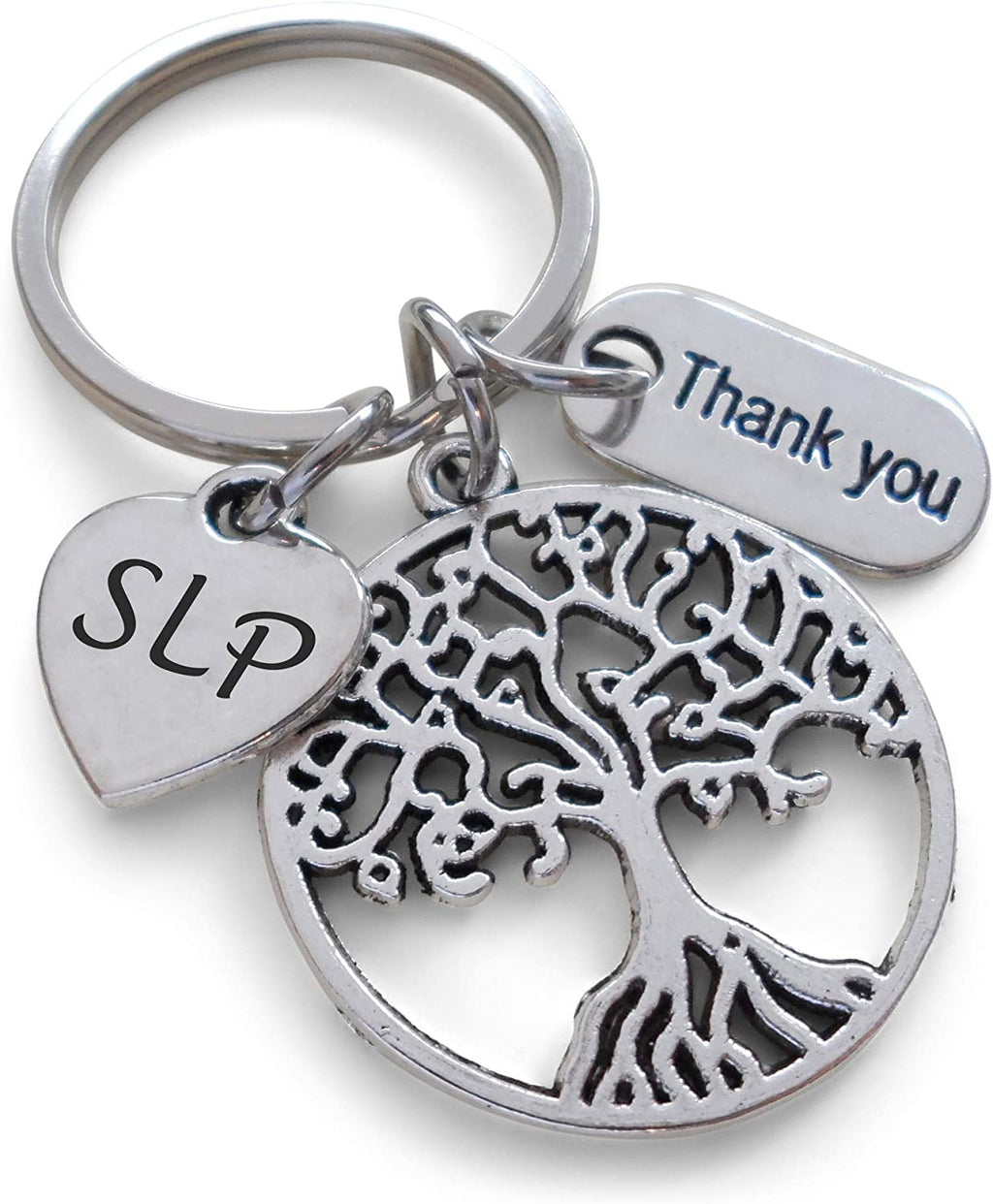 "Employee Appreciation Gifts • Speech Therapist Keychain, Speech Language Pathologist Keychain with Tree, SLP Heart, and ""Thank You"" Tag w/ ""Thanks for helping me grow"" Card by JewelryEveryday"