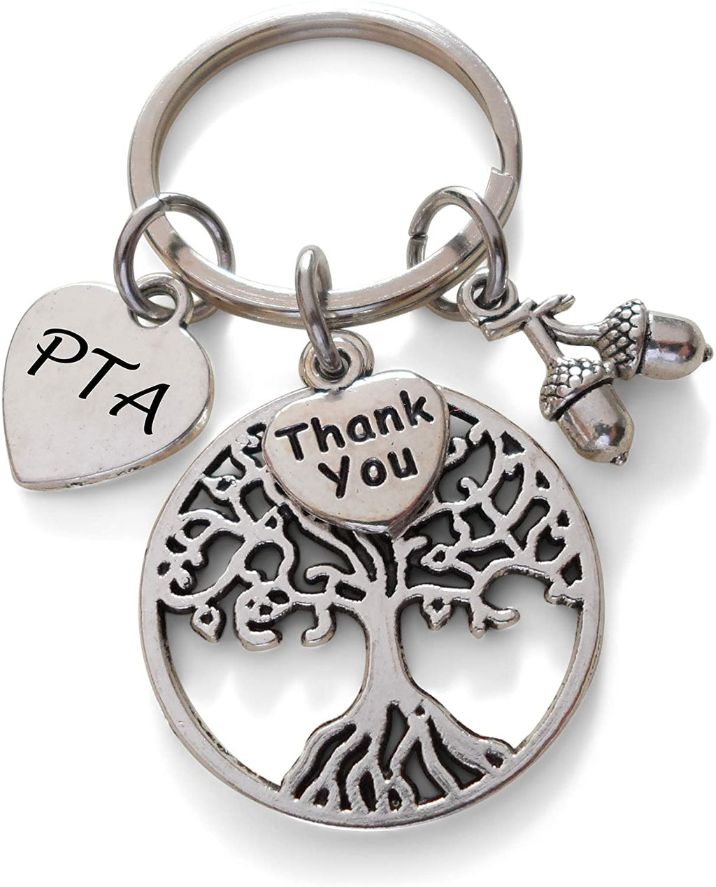 "Volunteer Appreciation Gifts • PTA Heart, Tree, ""Thank You"" & Acorn Seeds Charms by JewelryEveryday w/ ""Thanks for helping our students grow"" Card"