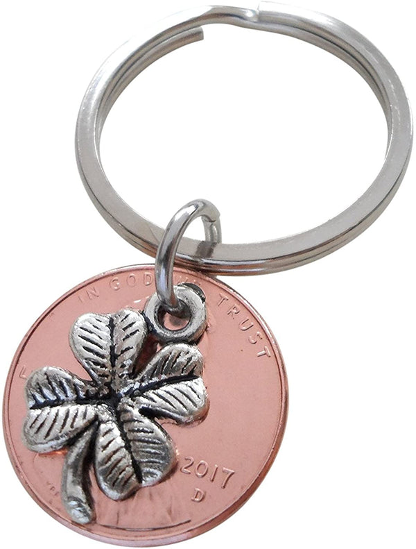 Clover Charm Layered Over 2017 Penny Keychain; 3 Year Anniversary Gift, Couples Keychain