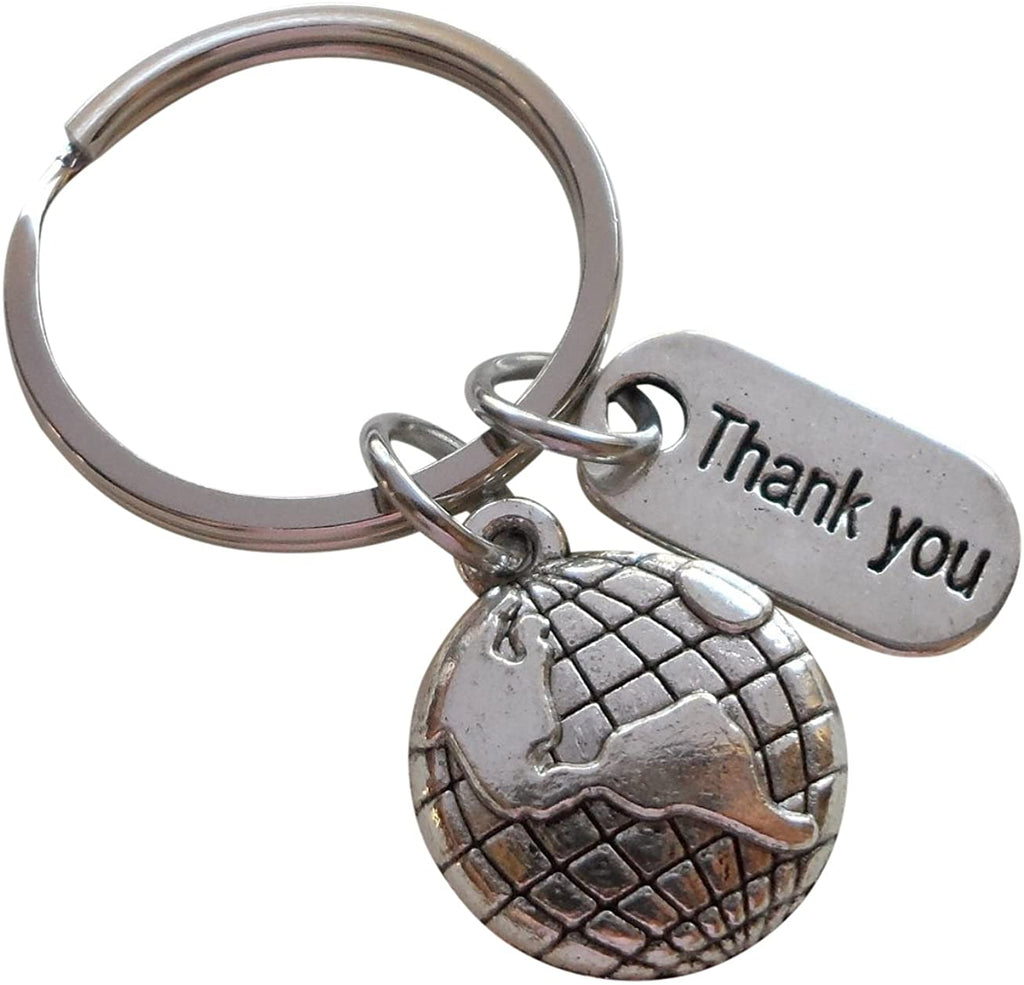 "Employee Appreciation Gifts • ""Thank You"" Tag & Silver World Globe Keychain by JewelryEveryday w/ ""You Mean The World To Us!"" Card"