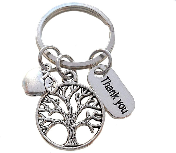 "Teacher Appreciation Gifts • ""Thank You"" Tag, Tree, & Apple Charm Keychain by JewelryEveryday w/ ""Thanks for helping me grow!"" Card"