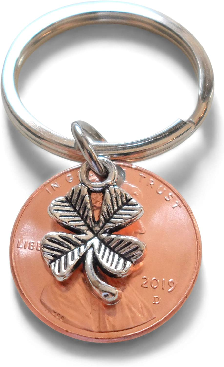 Clover Charm Layered Over 2019 US One Cent Penny Keychain; 2 Year Anniversary Gift, Couples Keychain
