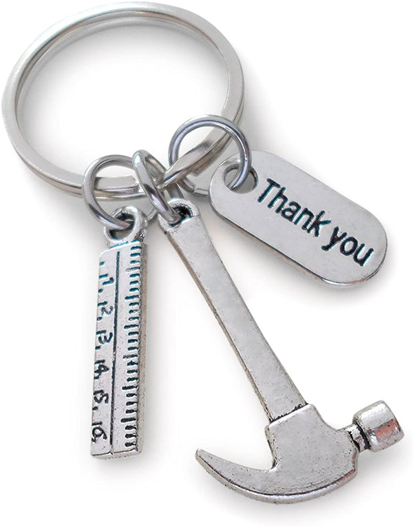 Appreciation Gift Hammer Ruler Keychain - Thanks for Helping Me Build My Future