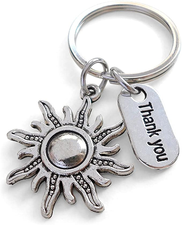 "Teacher Appreciation Gifts • ""Thank You"" Tag, Sun Charm Keychain by JewelryEveryday w/ ""Thanks for helping our students shine!"" Card"
