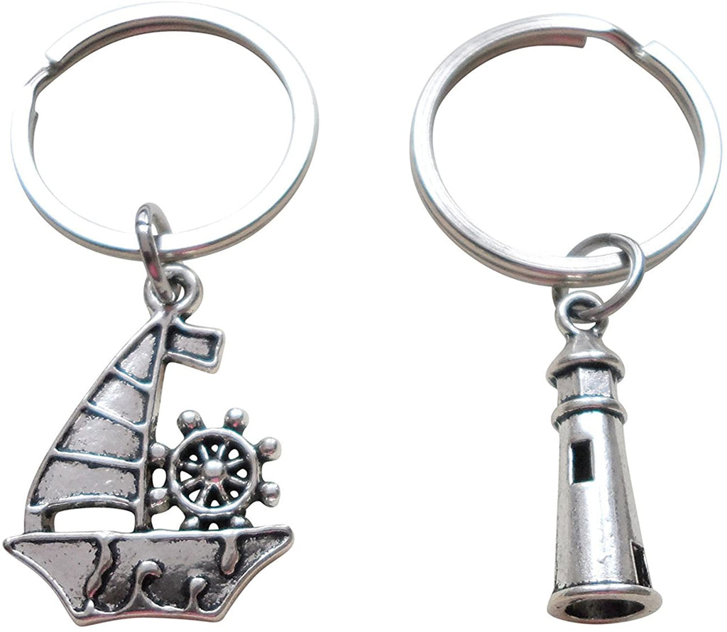 Sailboat & Lighthouse Keychain Set - Your Light Helps Guide Me Home; Couples Keychains, Mother Daughter or Father Son