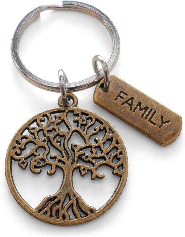 "Family Reunion Gift • Bronze Family Tree Keychain w/ card ""Our Roots Are As One"""