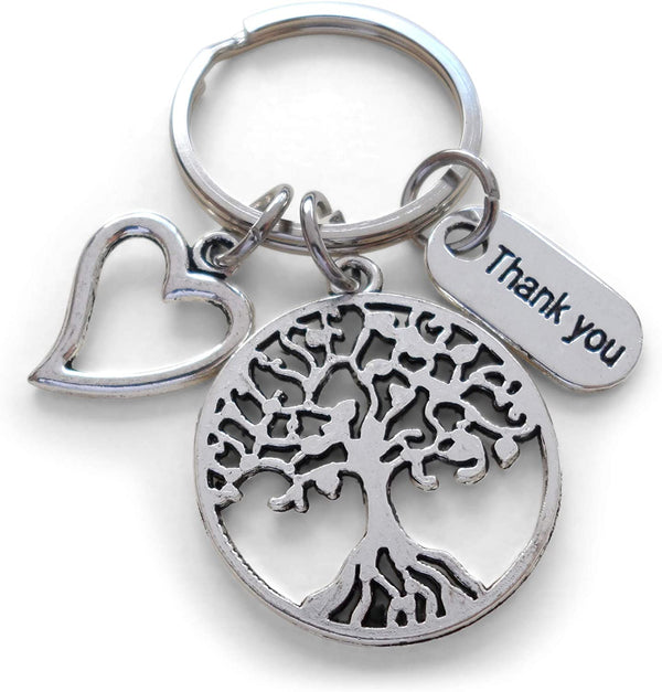 "Caregiver, Home Aid Caretaker, or Teacher Keychain Gift, Tree, Heart, and ""Thank You"" Charm w/ Thanks for sharing your heart with us"" Card by JewelryEveryday"