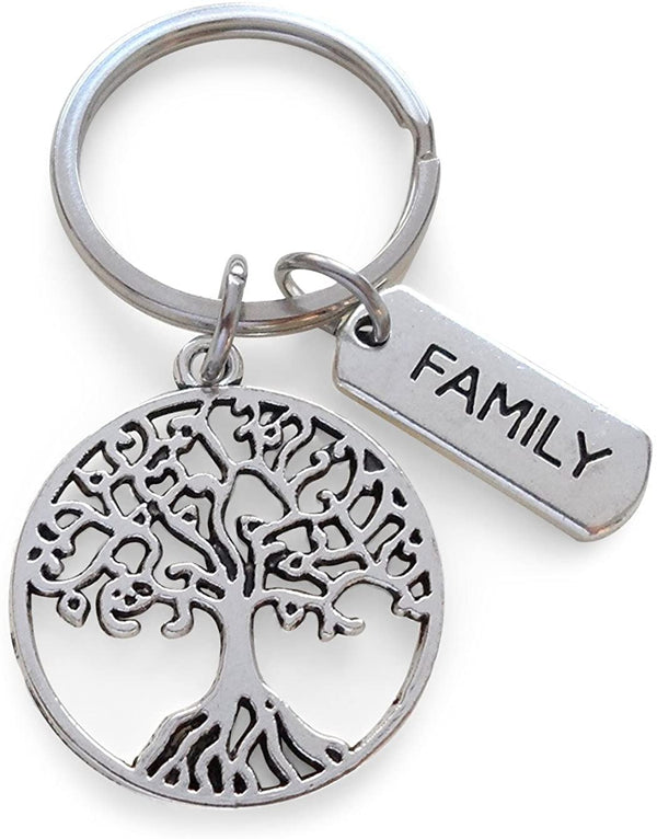 Family Tree Keychain, Family Reunion Gift - Our Roots Are As One