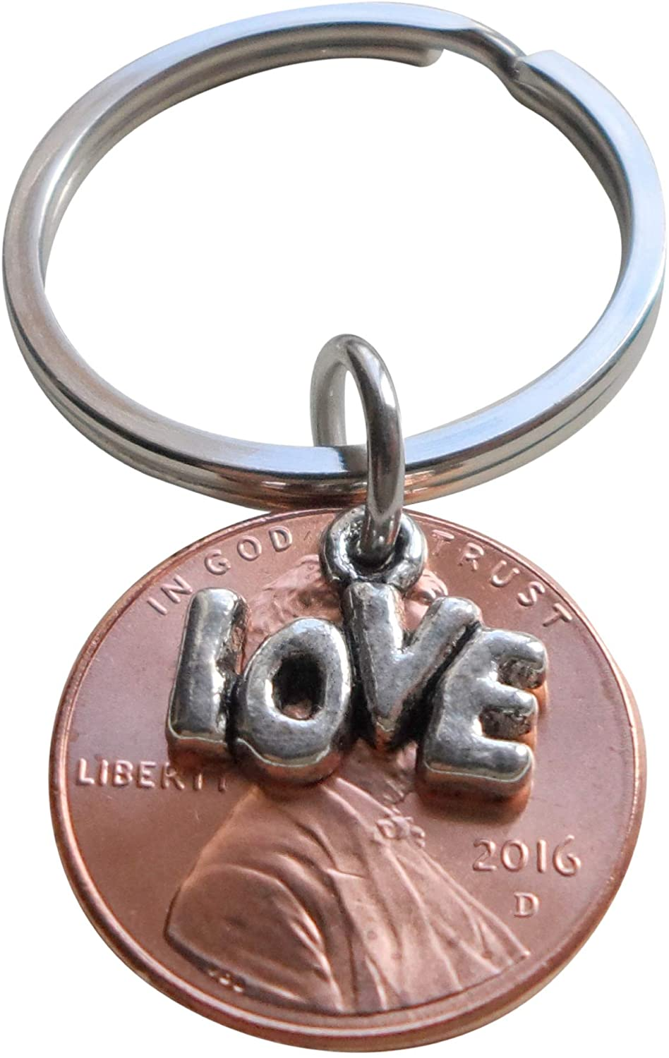 Lucky in Love 2016 Penny Keychain with Love Charm Layered Over; 4 Year Anniversary Gift, Couples Keychain