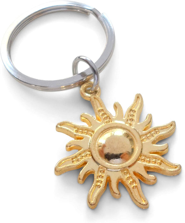 Golden Tone Sunshine Sun Keychain - You're The Light of My Life; Couples Keychain by JewelryEveryday