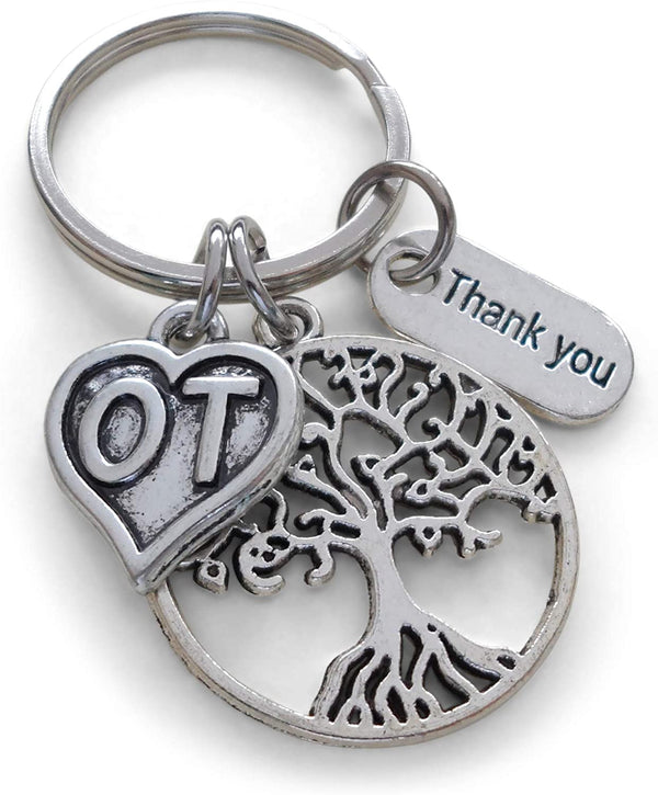 "Employee Appreciation Gifts • Occupational Therapist Keychain with Tree, OT Heart, and ""Thank You"" Tag w/ ""Thanks for helping me grow"" Card by JewelryEveryday"